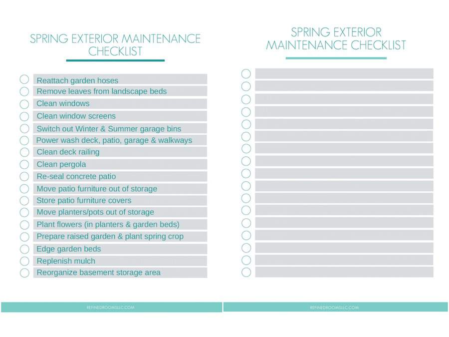 This free printable Spring Exterior Maintenance Checklist will help you plan out and keep track of all the tasks you need to do to prepare your home's exterior for the warm weather! Choose the completed version or the blank editable version to customize for yourself! #homemaintenancechecklist #organizingprintable #refinedrooms