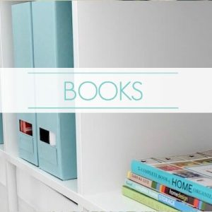 "bookshelf with books - text ""books""."
