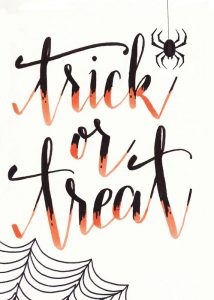 Fabulous free Halloween printables -- Trick or treat brush lettering