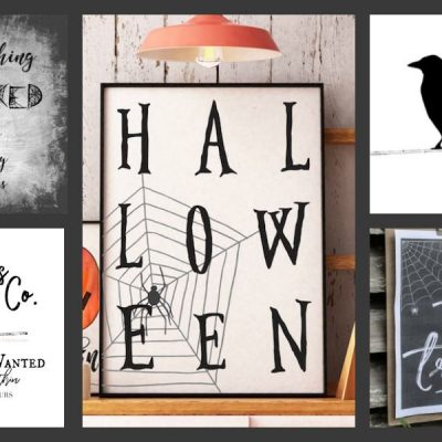 Collage of free Halloween printables to download and enjoy