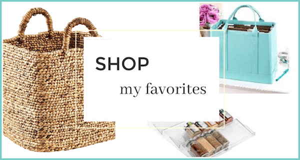 "collage of organizing products - text ""shop my favorites""."