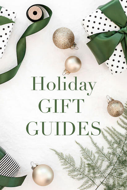 holiday gifts, bulbs, and ribbons with text Holiday Gift Guides text
