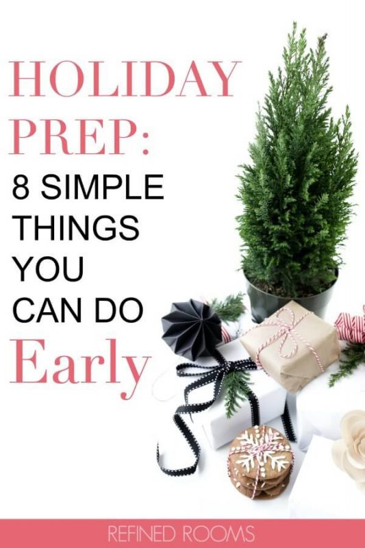 "holiday gifts and cookies. Text ""holiday prep: 8 simple things you can do early""."