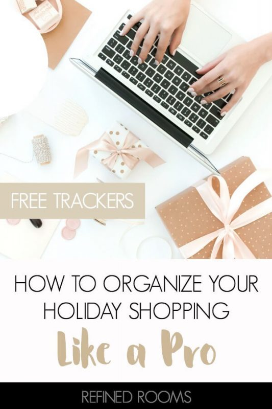 Let's make this year's holiday season more jolly and less stressful, shall we? Organize your holiday shopping with these tips (& free printables) from Refined Rooms #holidayshoppingtips #holidayorganizing #gifttracker