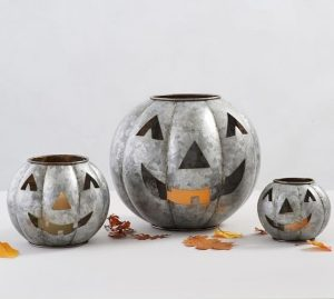 set of Galvanized steel halloween jack o lanterns
