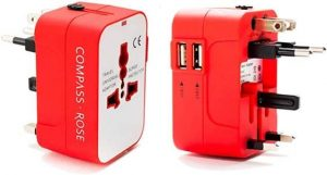 Compass Rose international travel adapter plug
