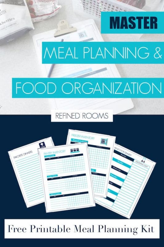 "graphic of printables set with text overlay: ""Master Meal Planning & Food Organization: Free Printable Meal Planning Kit""."
