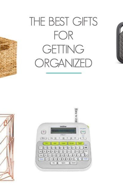 "collage of organization products. Text overlay ""the best gifts for getting organized"""