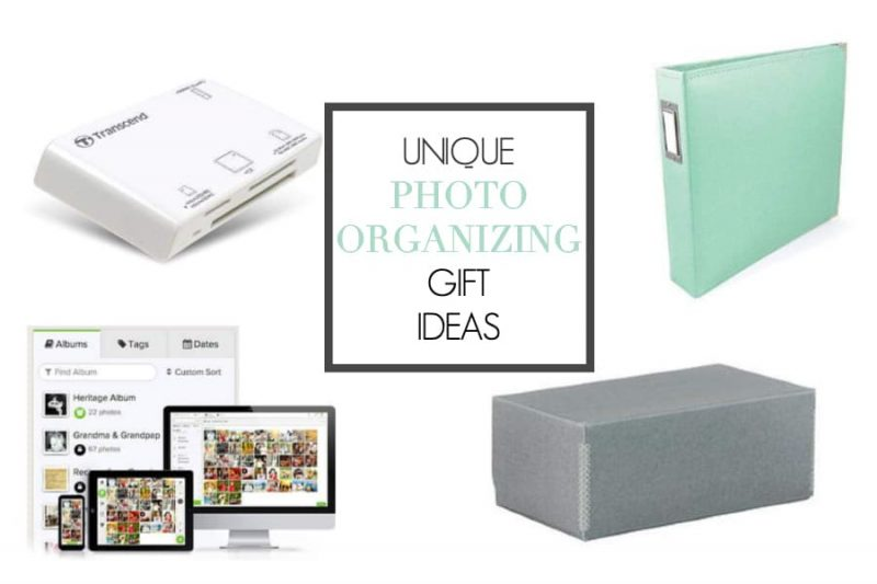 "collage of photo organization tools. Text overlay ""unique photo organizing gift ideas""."