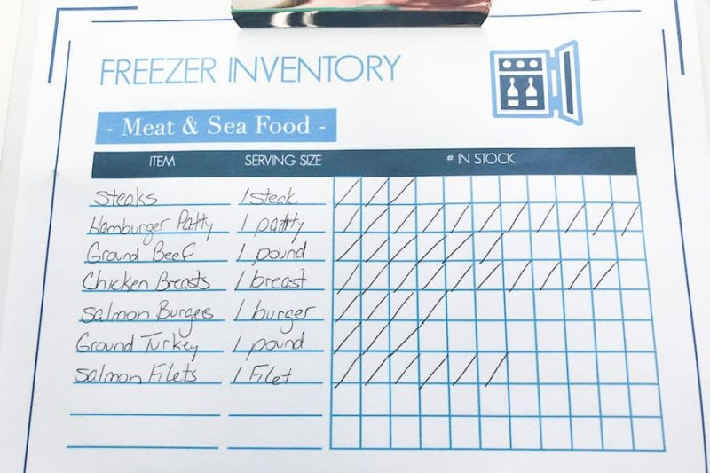 freezer inventory filled out