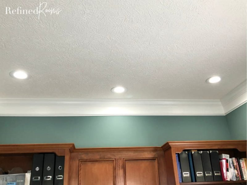 LED canned lights in a home office ceiling.