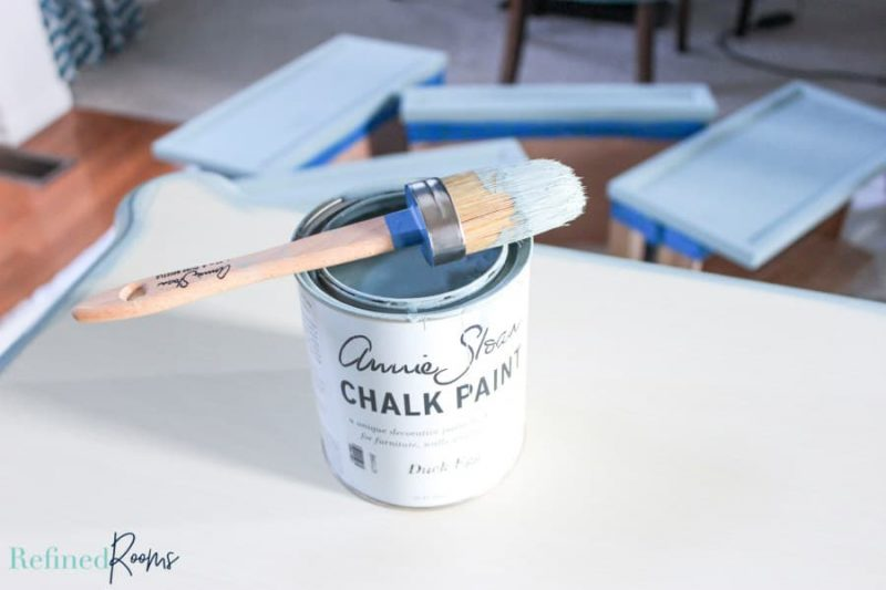 a piece of furniture being painted with Annie Sloan Chalk Paint.