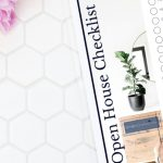 tiled table with Open House Checklist displayed