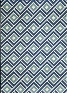 aqua, navy blue and cream diamond pattern indoor-outdoor rug.