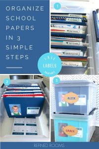 "collage of file box containing organized school papers - text ""organize school papers in 3 simple steps""."