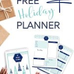 "screenshot of planner printable pages with holiday gifts - text ""free holiday planner""."